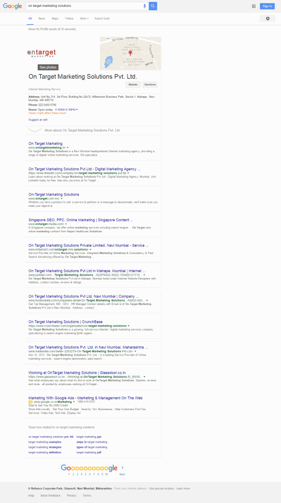 Google new interface for comapny search term - desktop result full screen