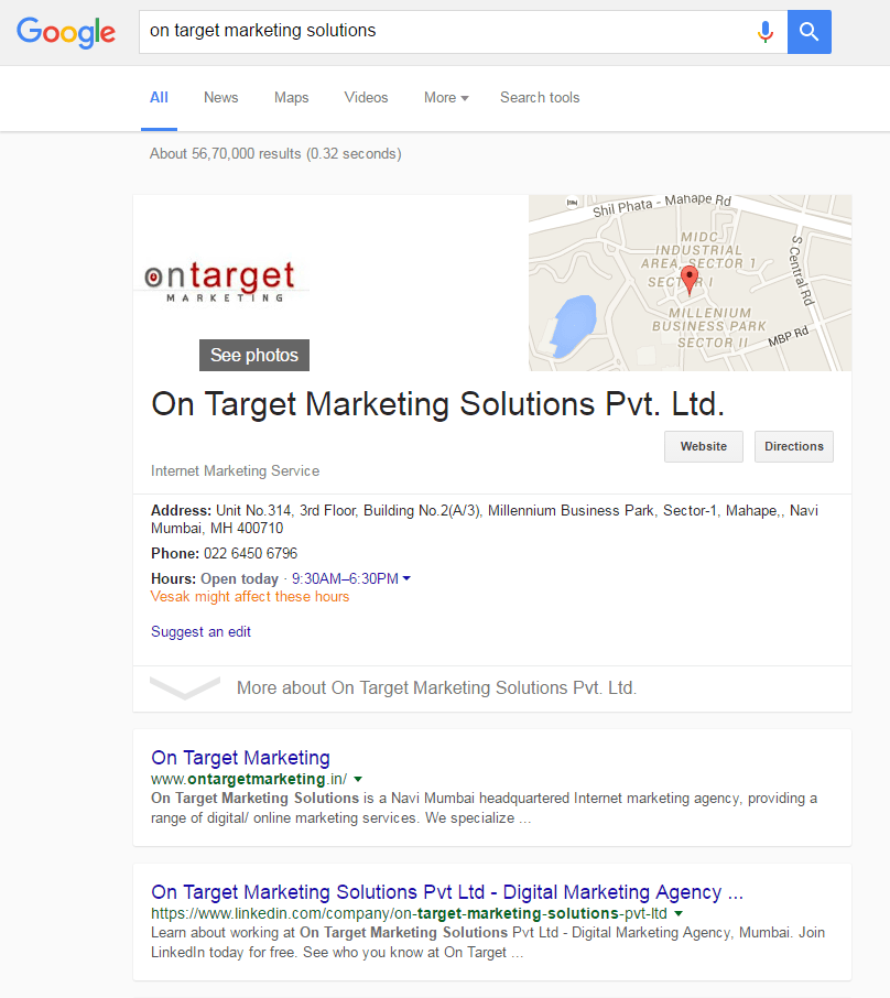 Google new interface for company search term - desktop result