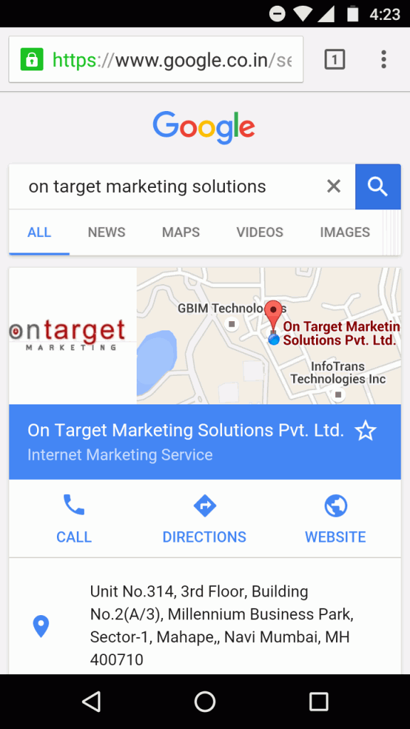 Google new interface for company search term - mobile result