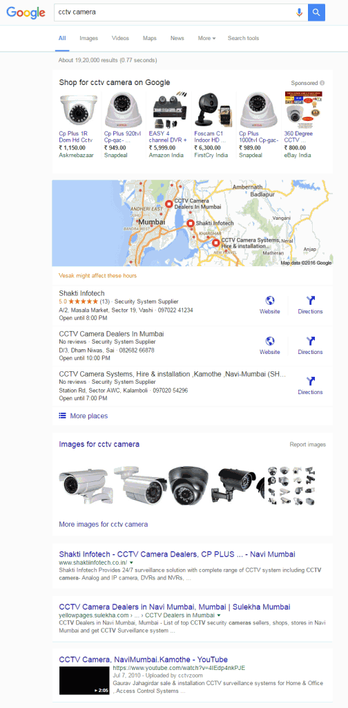Google new interface for product search term - desktop result