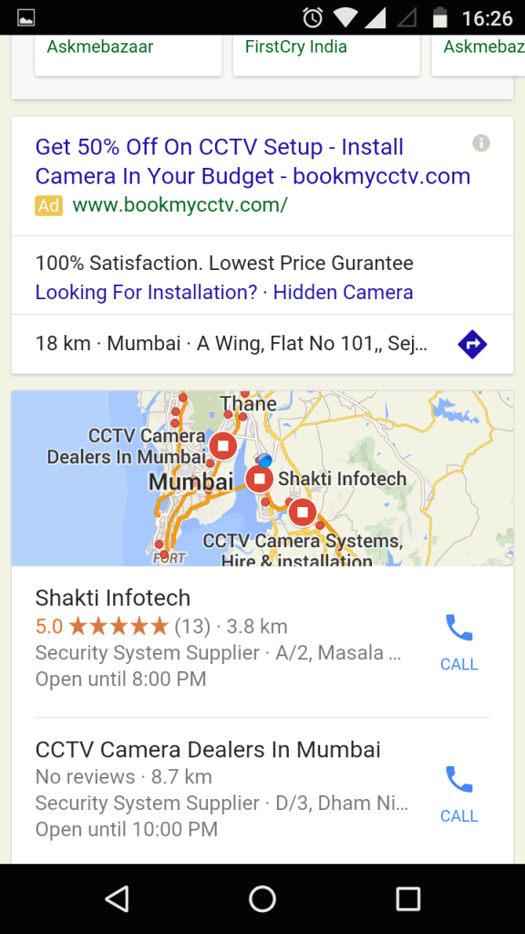 Google new interface for product search term - mobile result 1