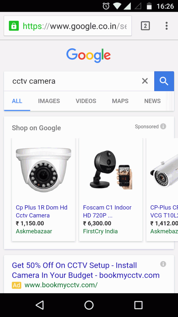 Google new interface for product search term - mobile result