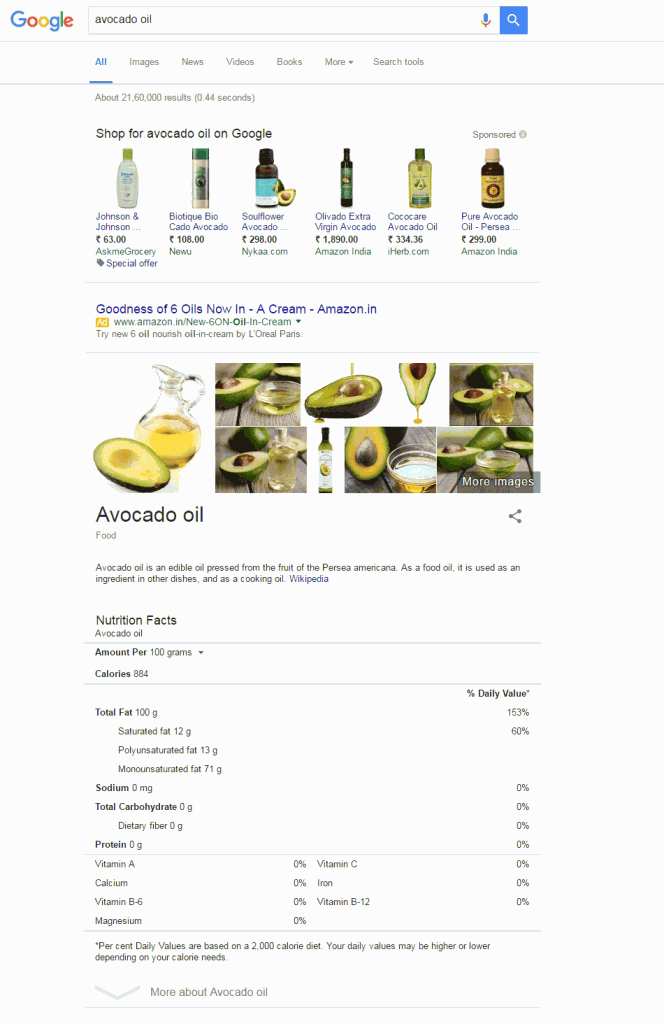 Google new interface for recipe search term - desktop result