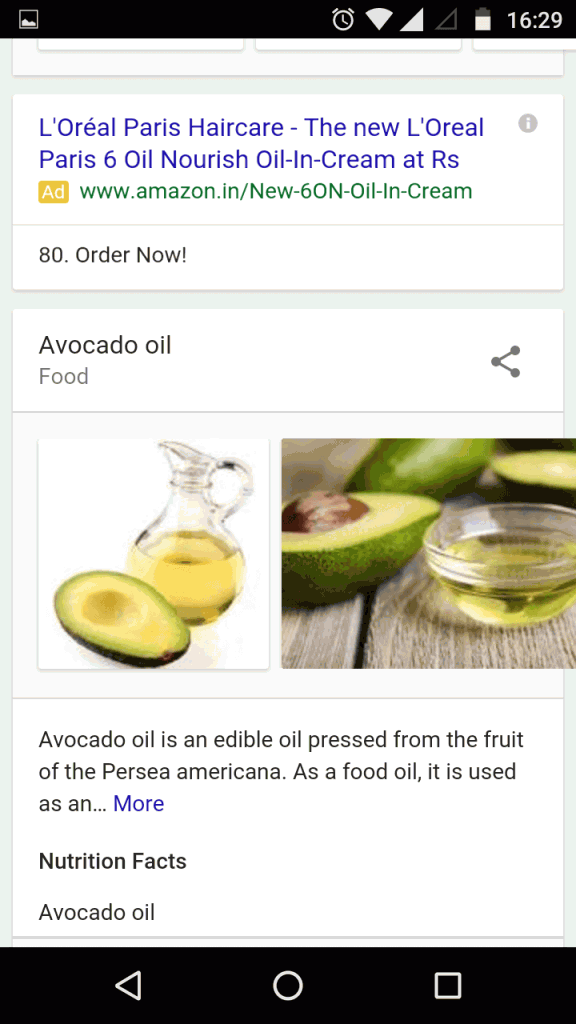 Google new interface for recipe search term - mobile result