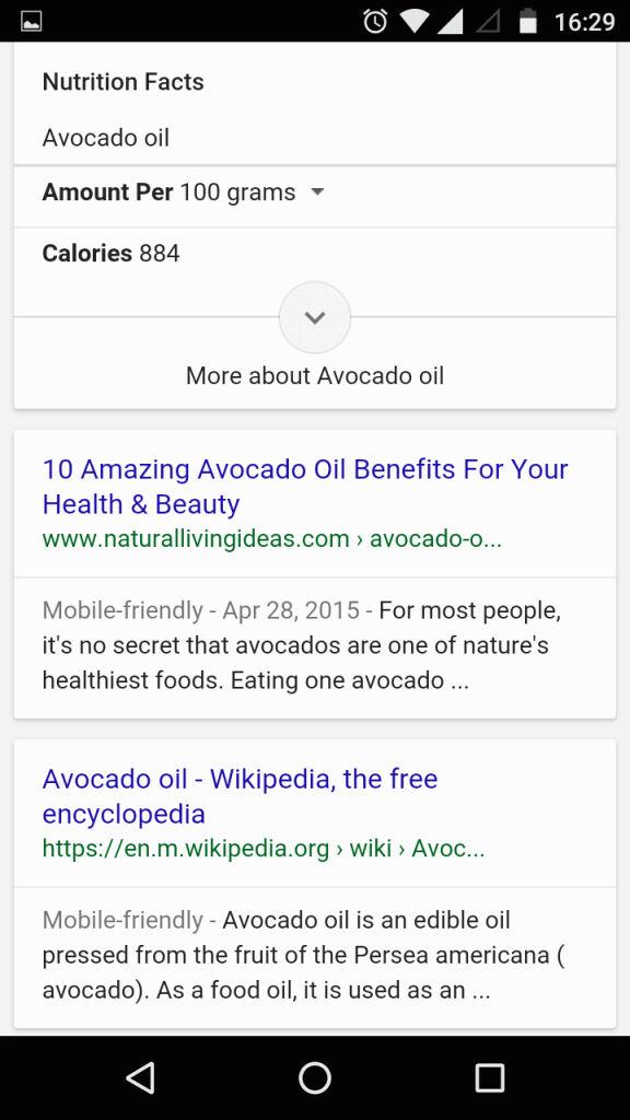 Google new interface for recipe search term - mobile result SERP